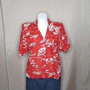 Vintage Liz Claiborne Red Printed Top size 14